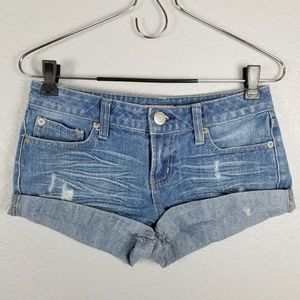 So jean distressed shorts